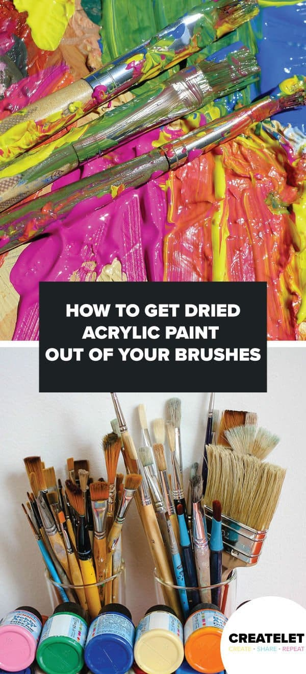 how to get dried acrylic paint out fo your brushes - pinterest