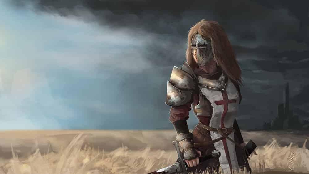 Female Knight In Field By - Jacob Kroon