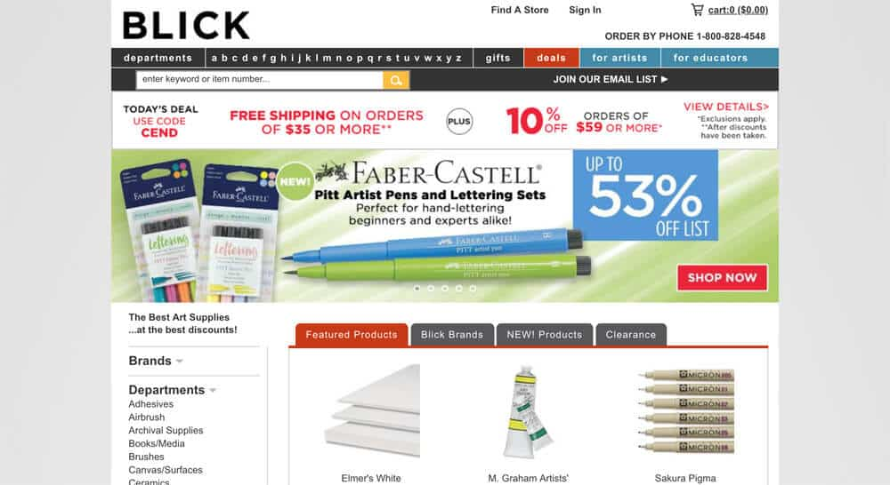 best online art stores - blick