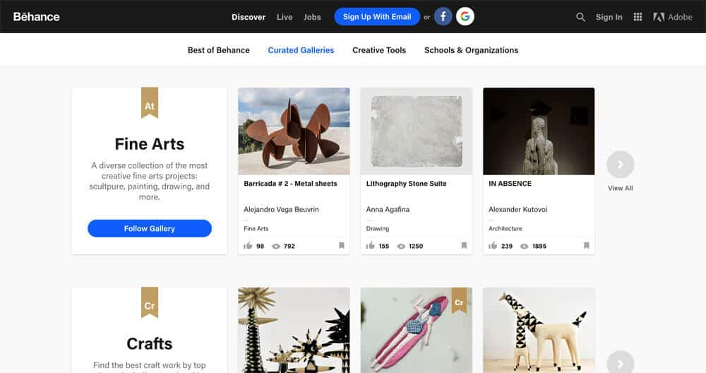 sites like deviantart - behance curation