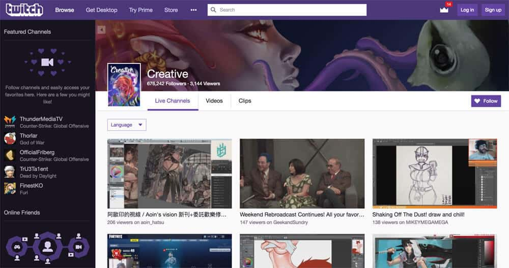 sites like deviantart - twitch creative