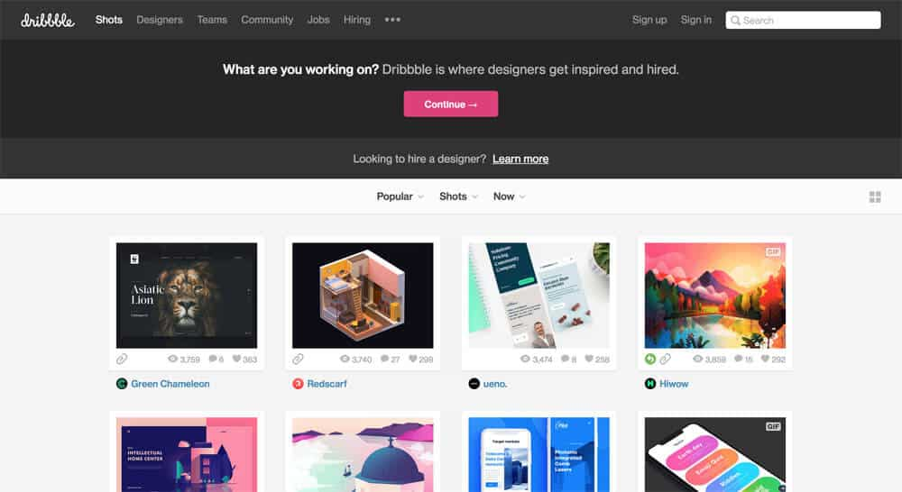 sites like deviantart - dribbble