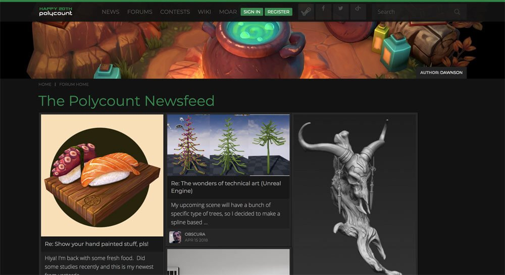 sites like deviantart - polycount