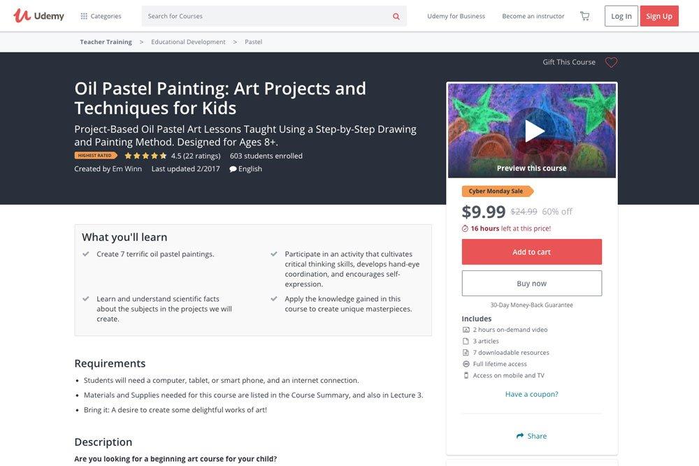 oil pastel tutorial on udemy